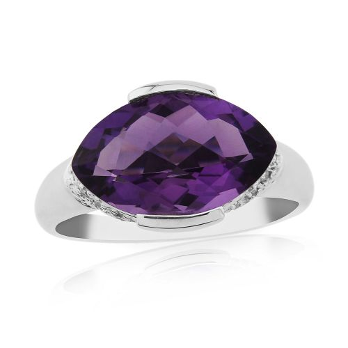 Marquise Cut Amethyst And Diamond 9 Carat White Gold Ring